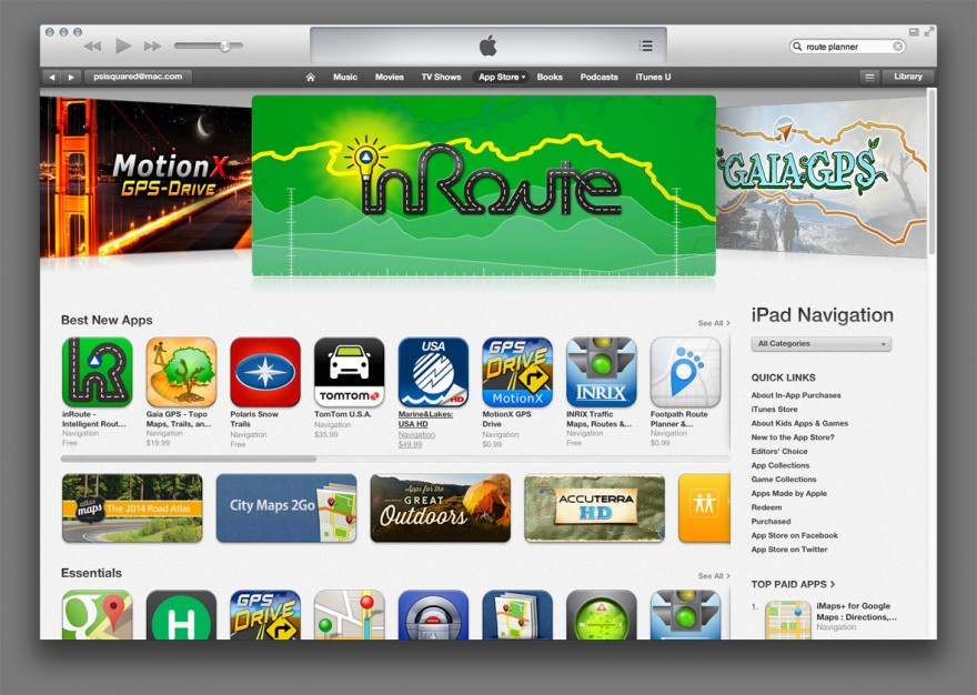 InRoute, featured on the App Store.